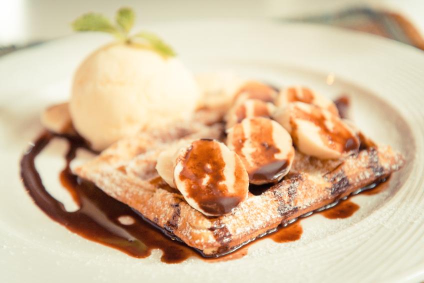 Banana Waffles with Ice Cream