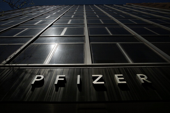 Pfizer name on the company's headquarters bulding.