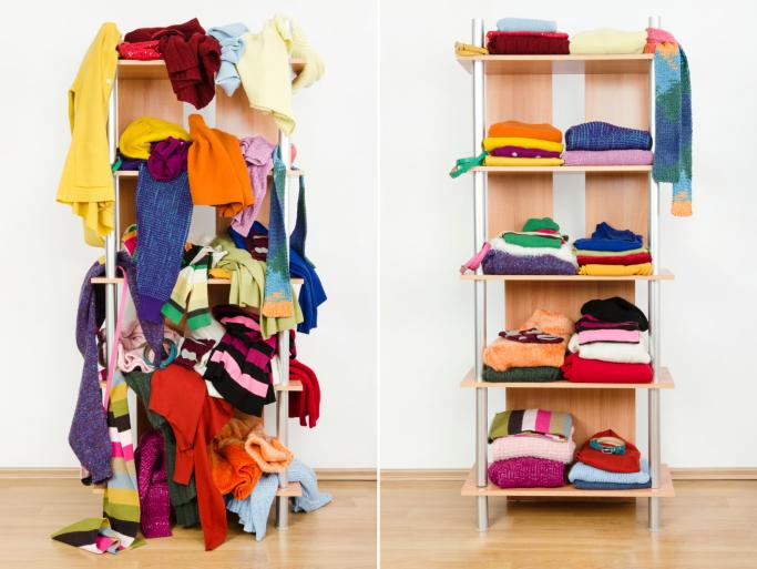 An unorganized closet