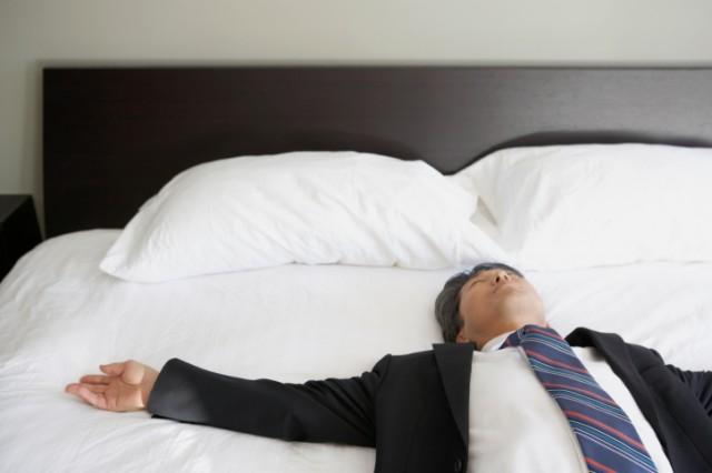 businessman trying to sleep