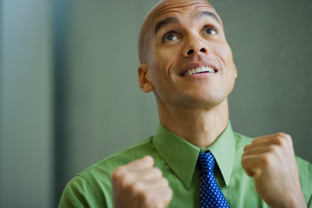 Man looking up with excitement