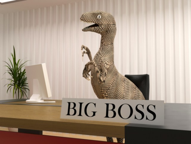 A mean dinosaur representing a big boss