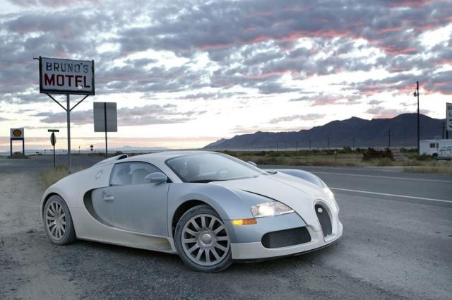 Bugatti sports car on the road