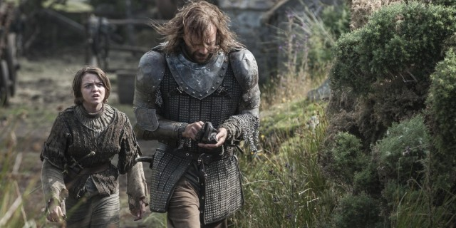 "Arya Stark and ""The Hound"" on Game of Thrones"