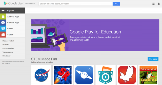 Source: http://googleenterprise.blogspot.com/2014/06/google-play-for-education-comes-to.html