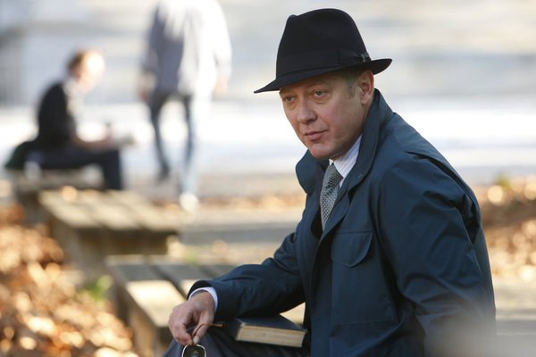 James Spader sits on a bench outside in a fedora and coat