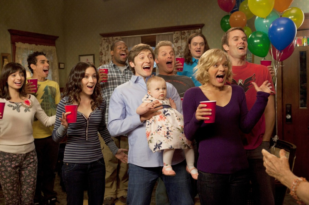 The cast of 'Raising Hope' celebrating with balloons and red cups