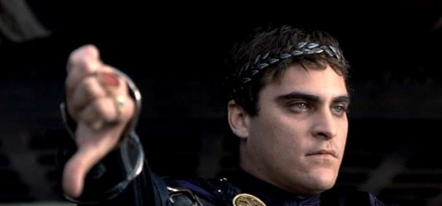 gladiator, Joaquin Phoenix, thumbs down, negative, disagreement, death, lose, business