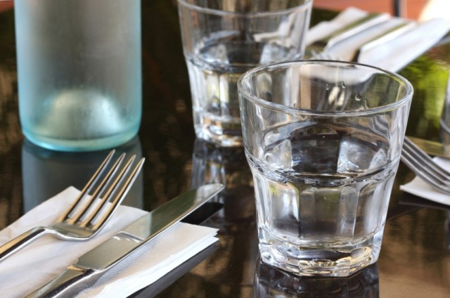 Water glasses and silverware