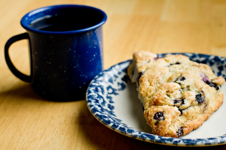 Coffee with a Blueberry Scone