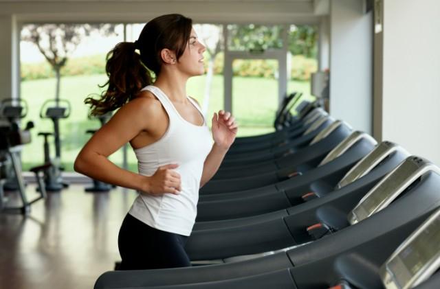 woman running on the treadmill