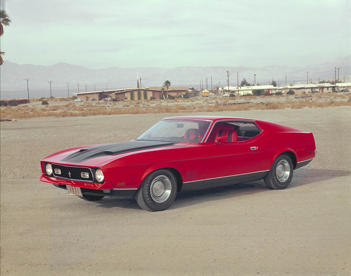 A red Ford Mustang Mach 1