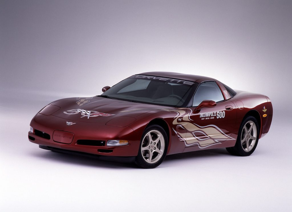 A red 2003 50th Anniversary Chevrolet Corvette