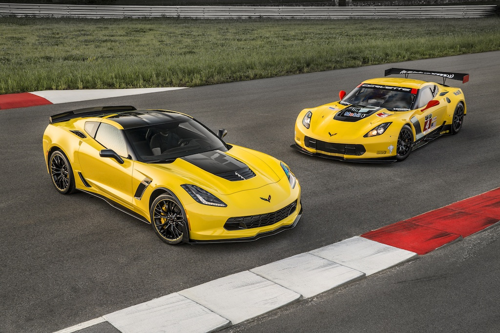 Two yellow 2016 Corvette Z06 C7.Rs