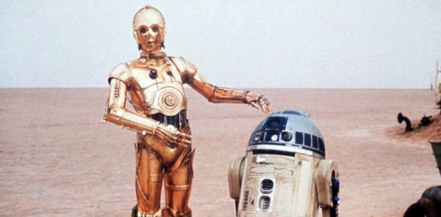C-3PO points to R2-D2