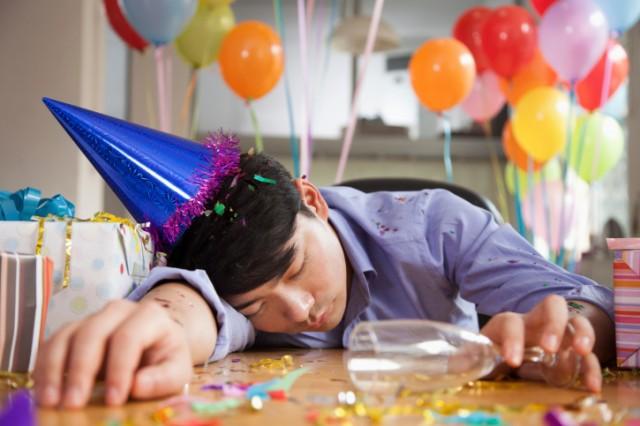 Man asleep after a party
