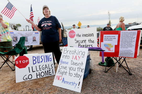 Anti-Immigration Activists Protest Arrival Of Unaccompanied Central American Children To Housing Facility
