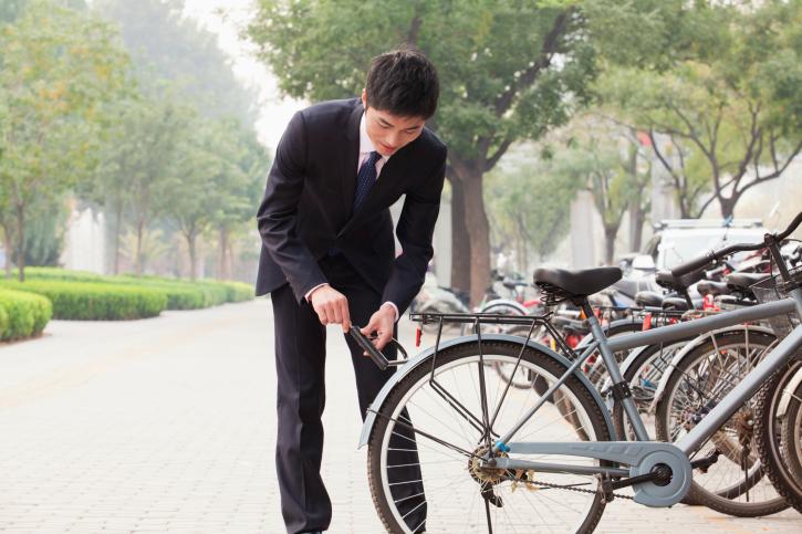 Man commuting by bike