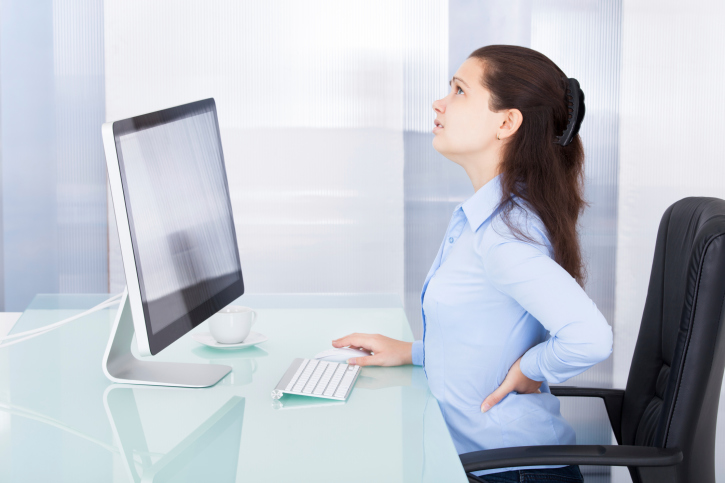 slouching, business, woman, office, work, back pain, stress