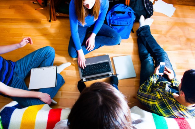 College students sitting on floor trying to pick a major