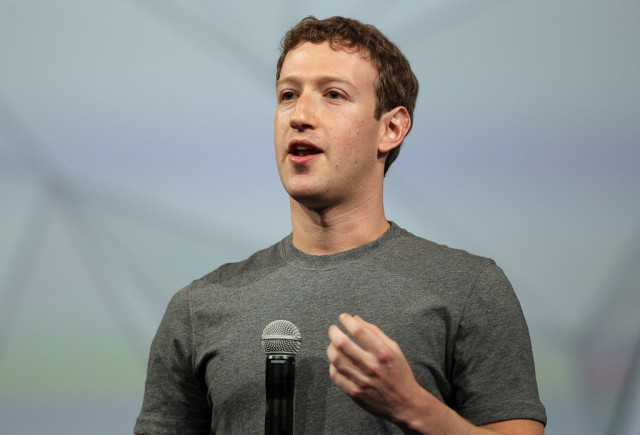 Facebook CEO Mark Zuckerberg delivers the opening kenote at the Facebook f8 conference on April 30, 2014