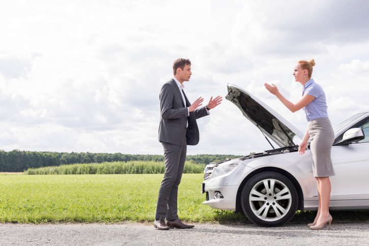 Couple fighting about car problems