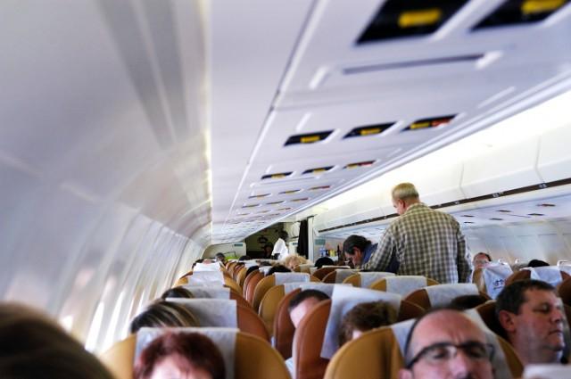 Sleeping passengers on a plane