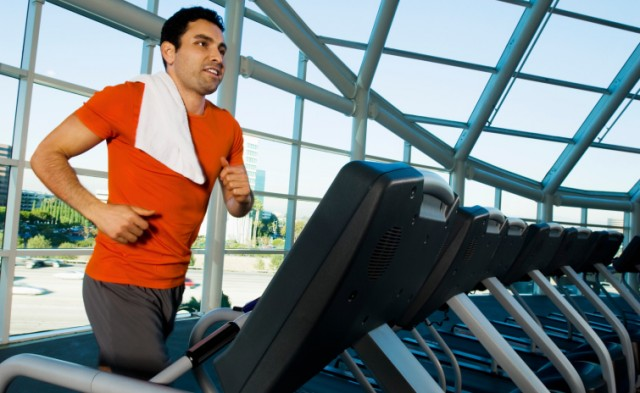 a man running on a treadmill