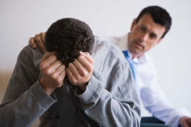 Consoling a sad man