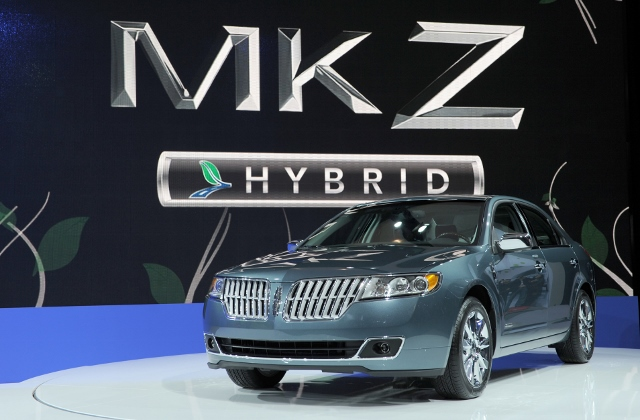 The Lincoln MKZ Hybrid on display at the