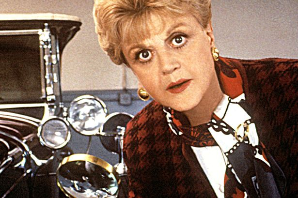 Jessica Fletcher wearing patterned jacket and scarf.