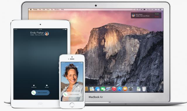 Apple iOS 8 continuity features iPhone, iPad, Mac
