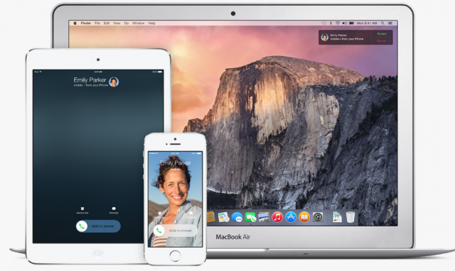 Apple iOS 8 continuity features iPhone, iPad, Mac