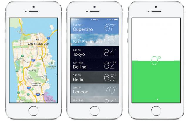 Apple iPhone iOS 7 mapas, weather, compass