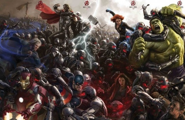 A bunch of heroes crowd around in concept art forAvengers: Age of Ultron