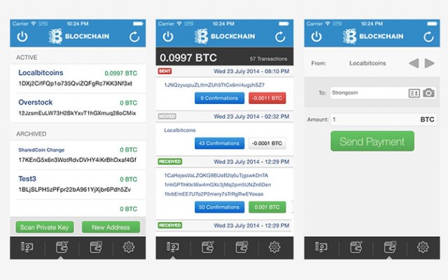 Blockchain Bitcoin wallet iOS