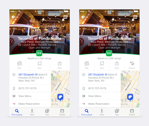 Foursquare app with and without Swarm check in