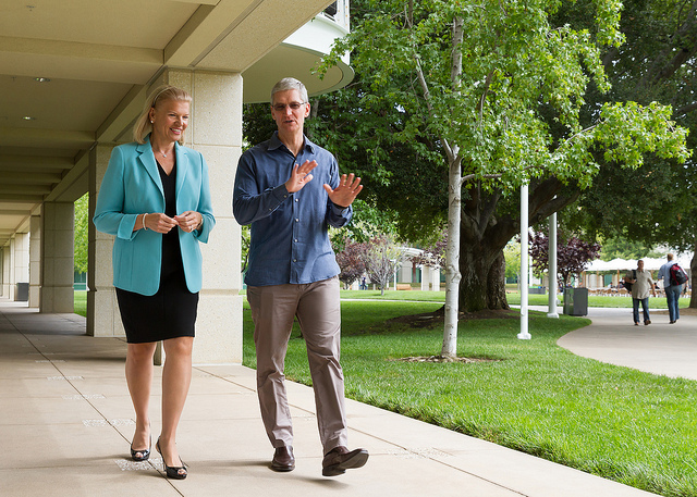 IBM's Virginia Rometty and Apple's Tim Cook