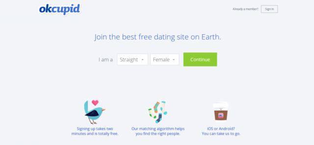 OkCupid homepage screenshot