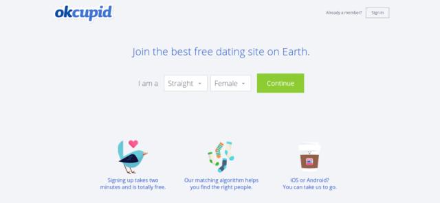 OkCupid homepage screenshot