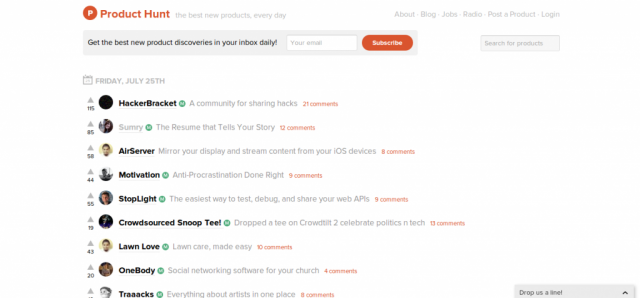 Product Hunt homepage