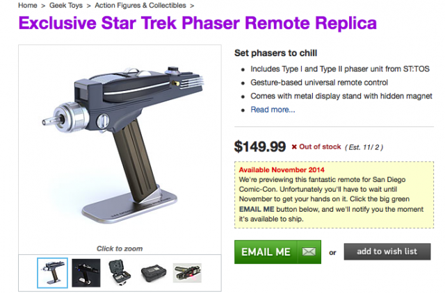 ThinkGeek Star Trek phaser bluetooth