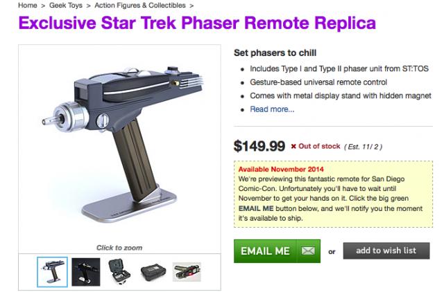ThinkGeek Star Trek phaser bluetooth