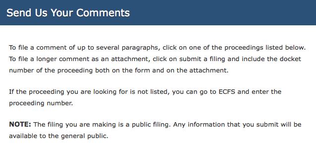 FCC public comments section
