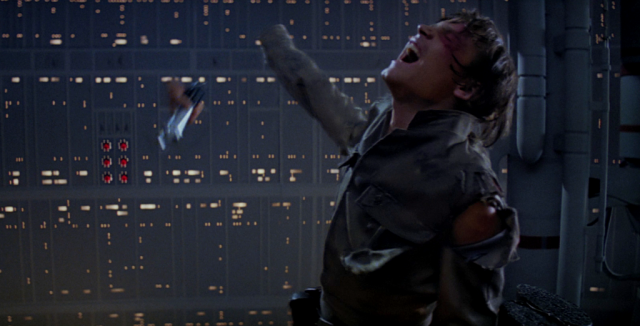 Luke Skywalker's severed hand falls through the air as he screams in Star Wars: The Empire Strikes Back