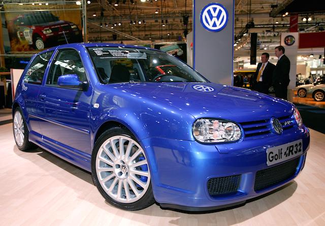 The Volkswagen Golf R32 on display