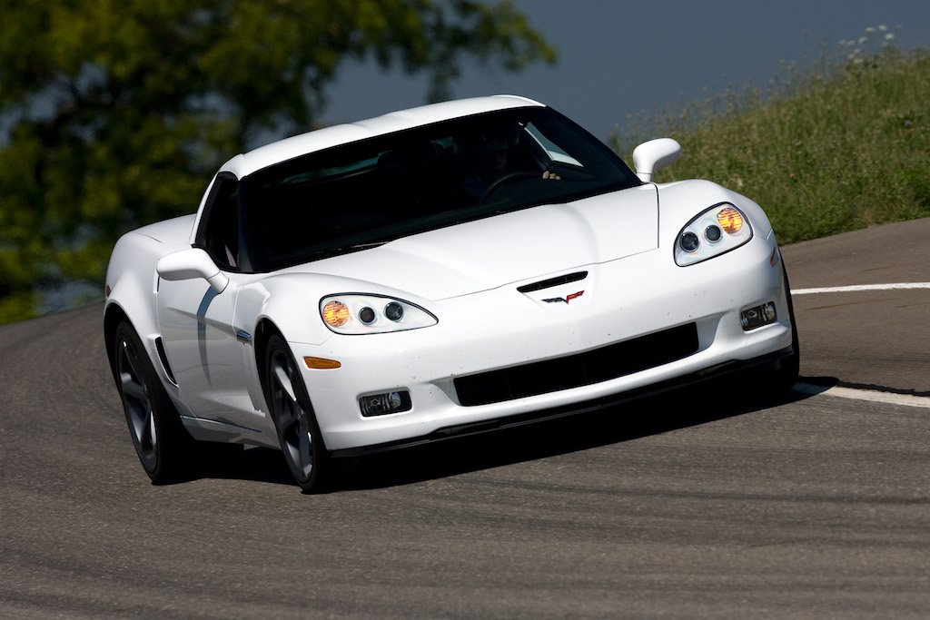A white 2010 Chevrolet Corvette Grand Sport