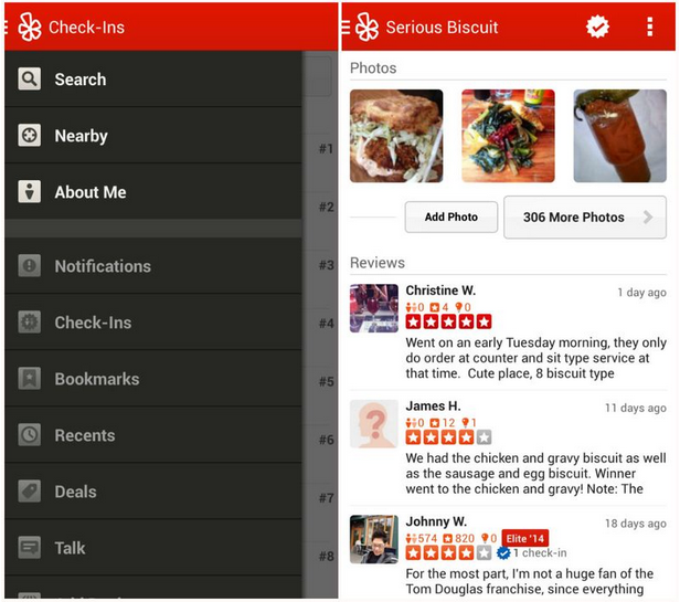 Yelp app for Fire Phone