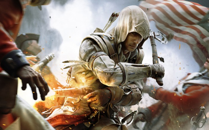 An assassin rushes through a battlefield, an American flag in the background.