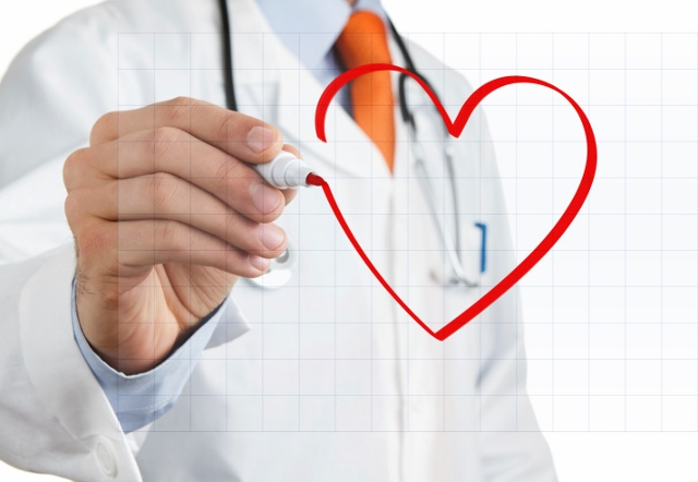 a doctor drawing a heart